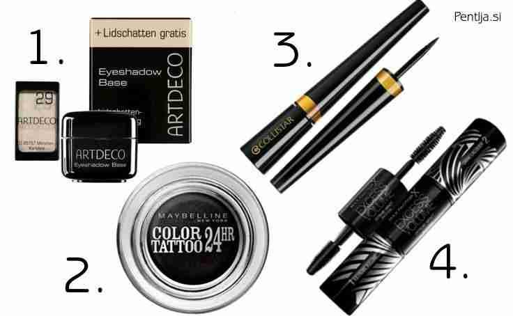 Predlagamo, da za ''Black Eye'' make-up uporabite naslednje produkte.