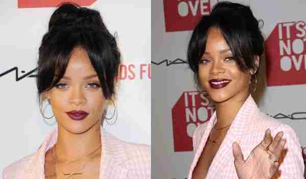 Rihanna res odlično nosi temno rdečilo za ustnice.
